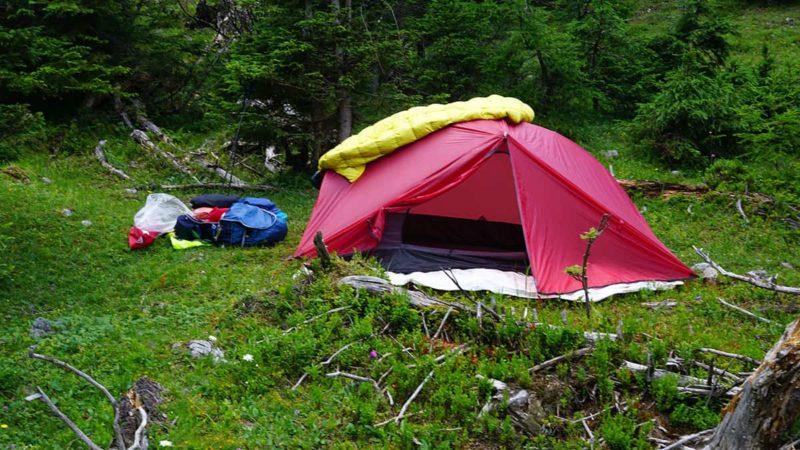 Übernachtung im Zelt am zweiten Tag